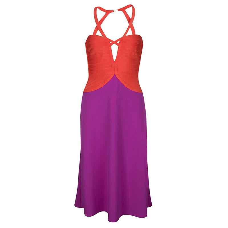 Herve Leger Color Block Cutout Detail Sleeveless Emmaline Dress S