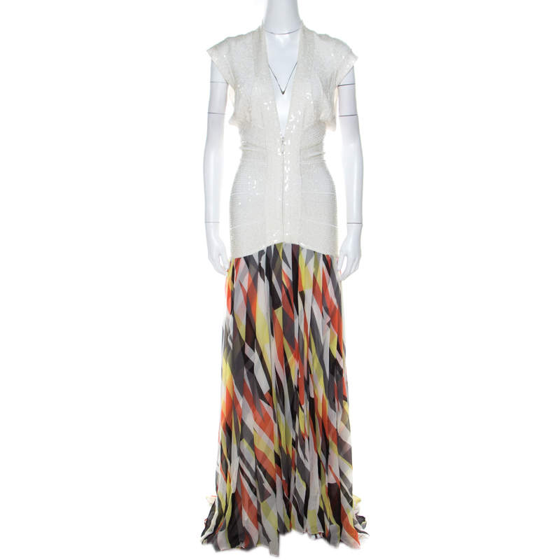 Herve Leger White Sequin Knit and Multicolor Printed Chiffon Backless Maxi Dress S