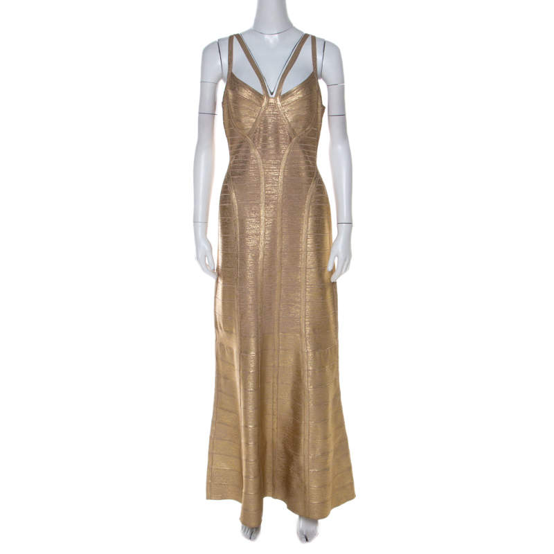 Herve Leger Gold Brushed Effect Bandage Gabriela Gown L