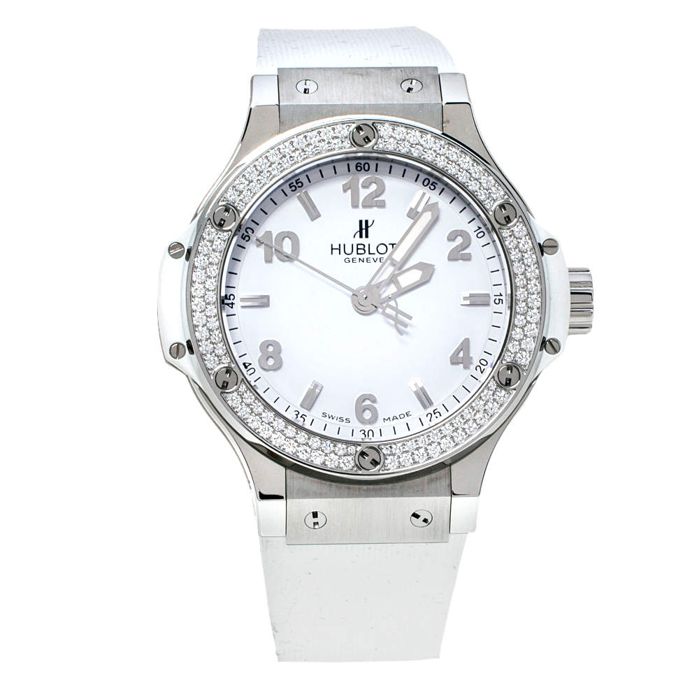 Hublot White Stainless Steel Rubber Diamond Big Bang 361.SE.2010.RW.1104.PLP Women's Wristwatch 38 mm