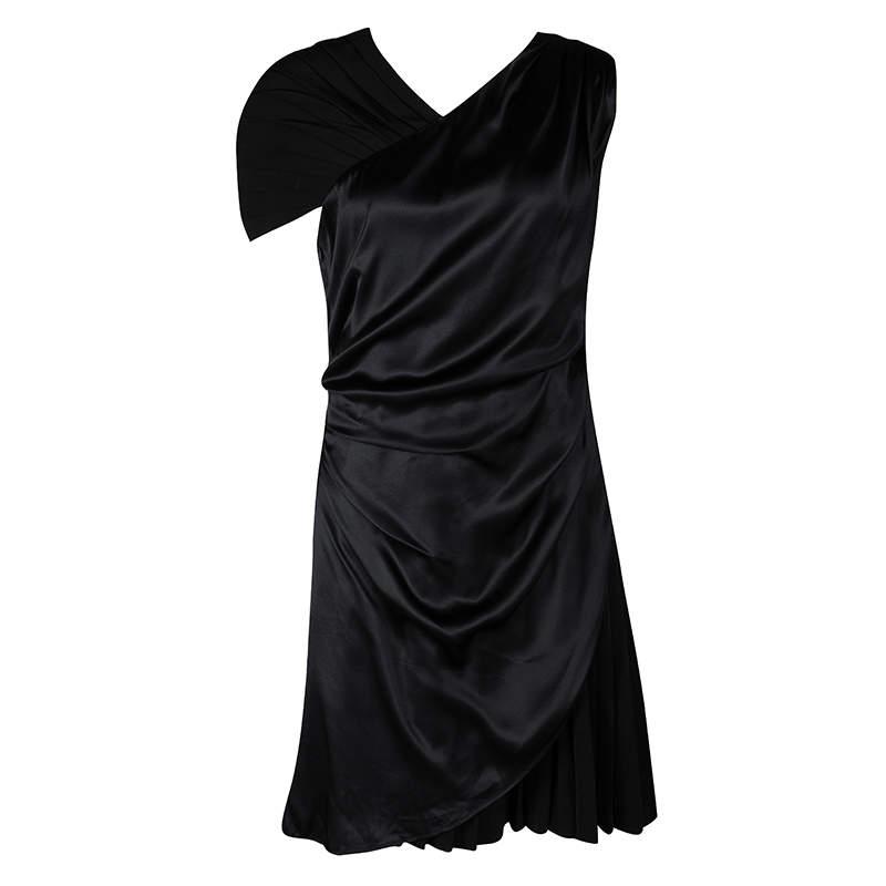Hugo by Hugo Boss Black Silk Drape Detail Pleated Kareen Dress M