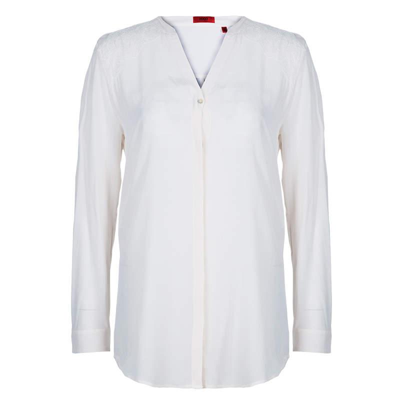 Hugo by Hugo Boss Off-White Silk Blouse XS