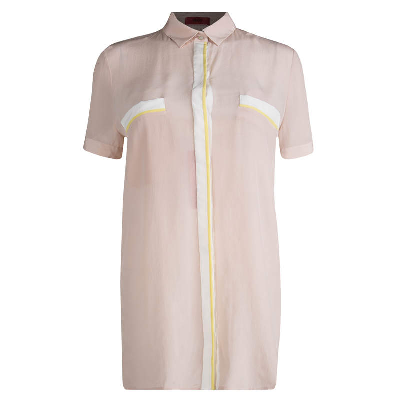 Hugo By Hugo Boss Pastel Pink Silk Button Front Elphie Blouse M