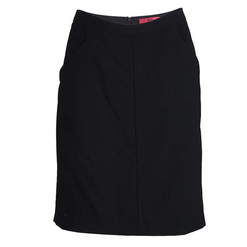 Hugo By Hugo Boss Black Wool Rossla Skirt M