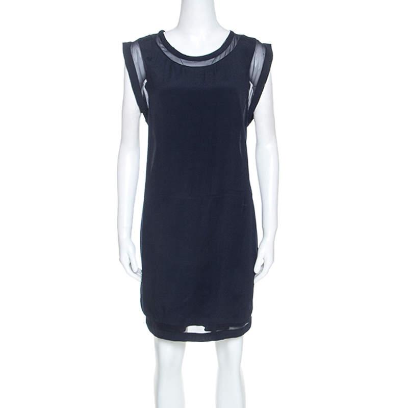 IRO Navy Blue Georgette Semi Sheer Cilia Mini Dress M