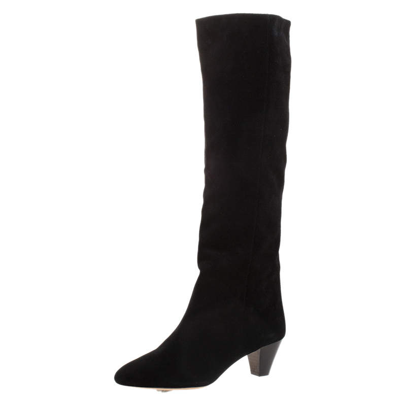 Isabel Marant Black Suede Knee Length Boots Size 36