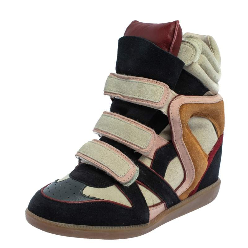 Isabel Marant Multicolor Suede And Leather Bekett Wedge Sneakers Size 40