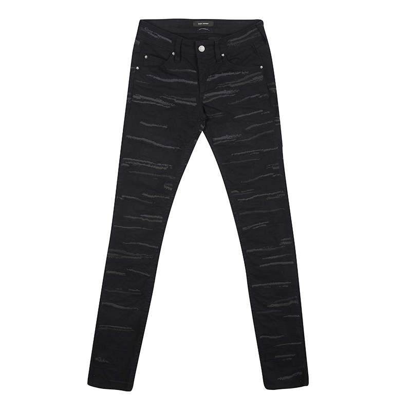 Isabel Marant Black Embroidered Denim Skinny Jeans S