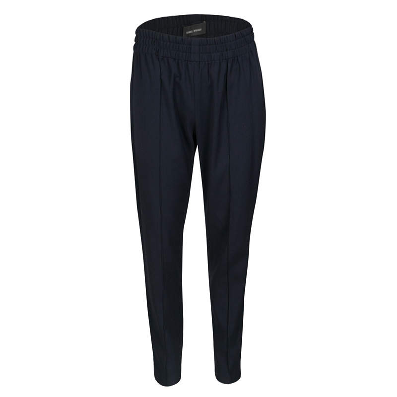 Isabel Marant Navy Blue Elasticized Waist Tapered Pants M