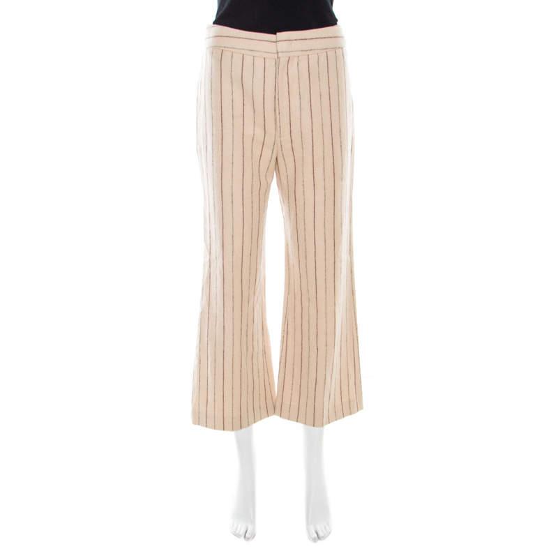 Isabel Marant Beige Striped Linen and Wool Flared Keroan Cropped Pants S