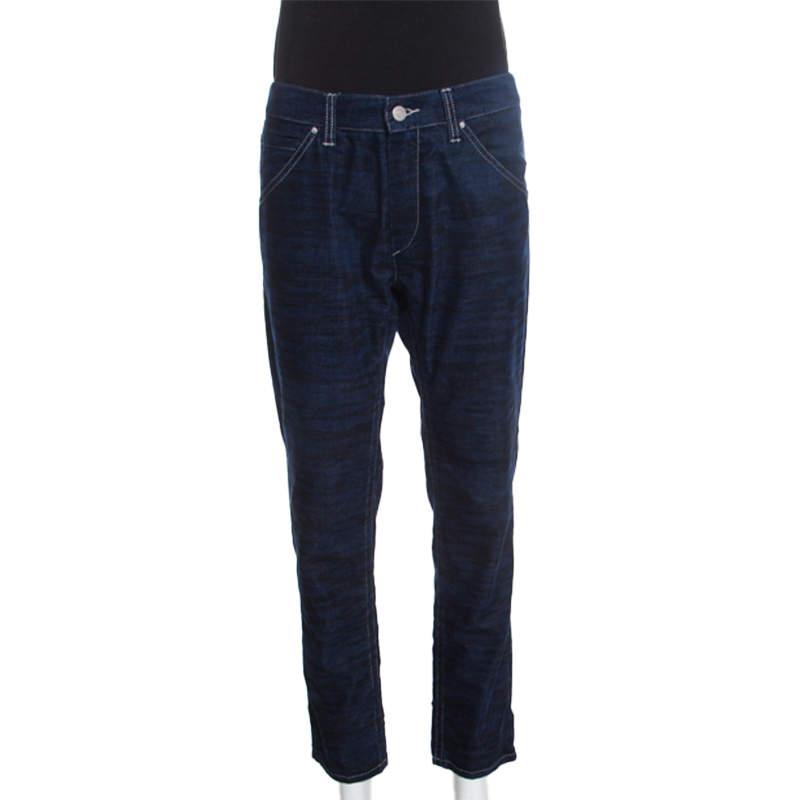 Isabel Marant Étoile Dark Blue Tiger Striped Corduroy Cropped Trousers L