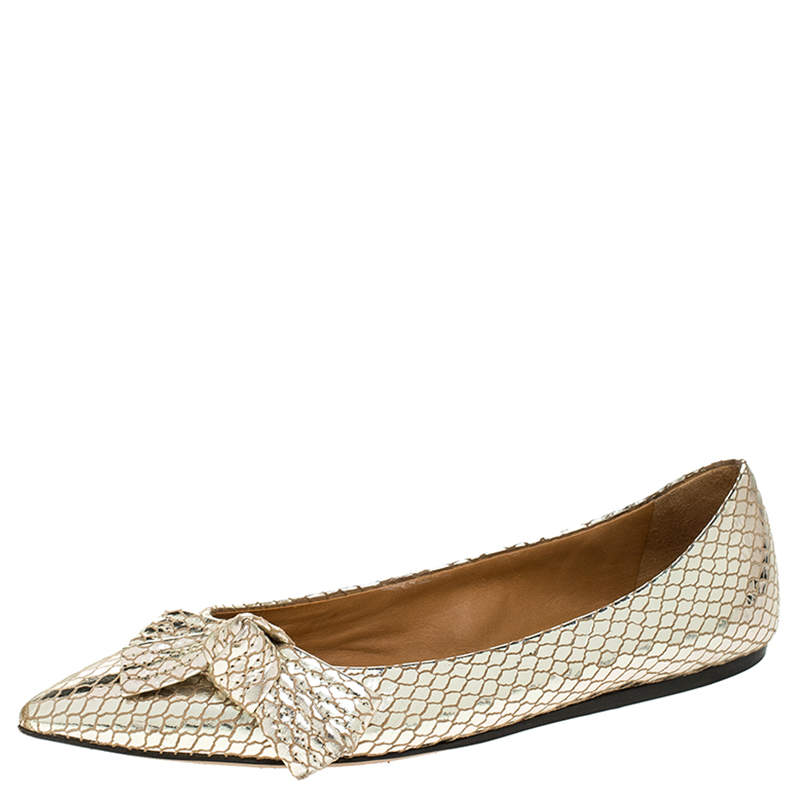 Isabel Marant Metallic Gold Foil Suede Skimmer Pointed Toe Ballet Flats Size 38