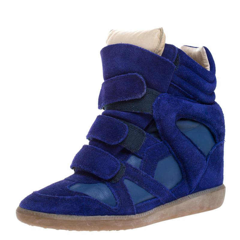 Isabel Marant Blue Suede and Leather Bekett High Top Sneakers Size 38