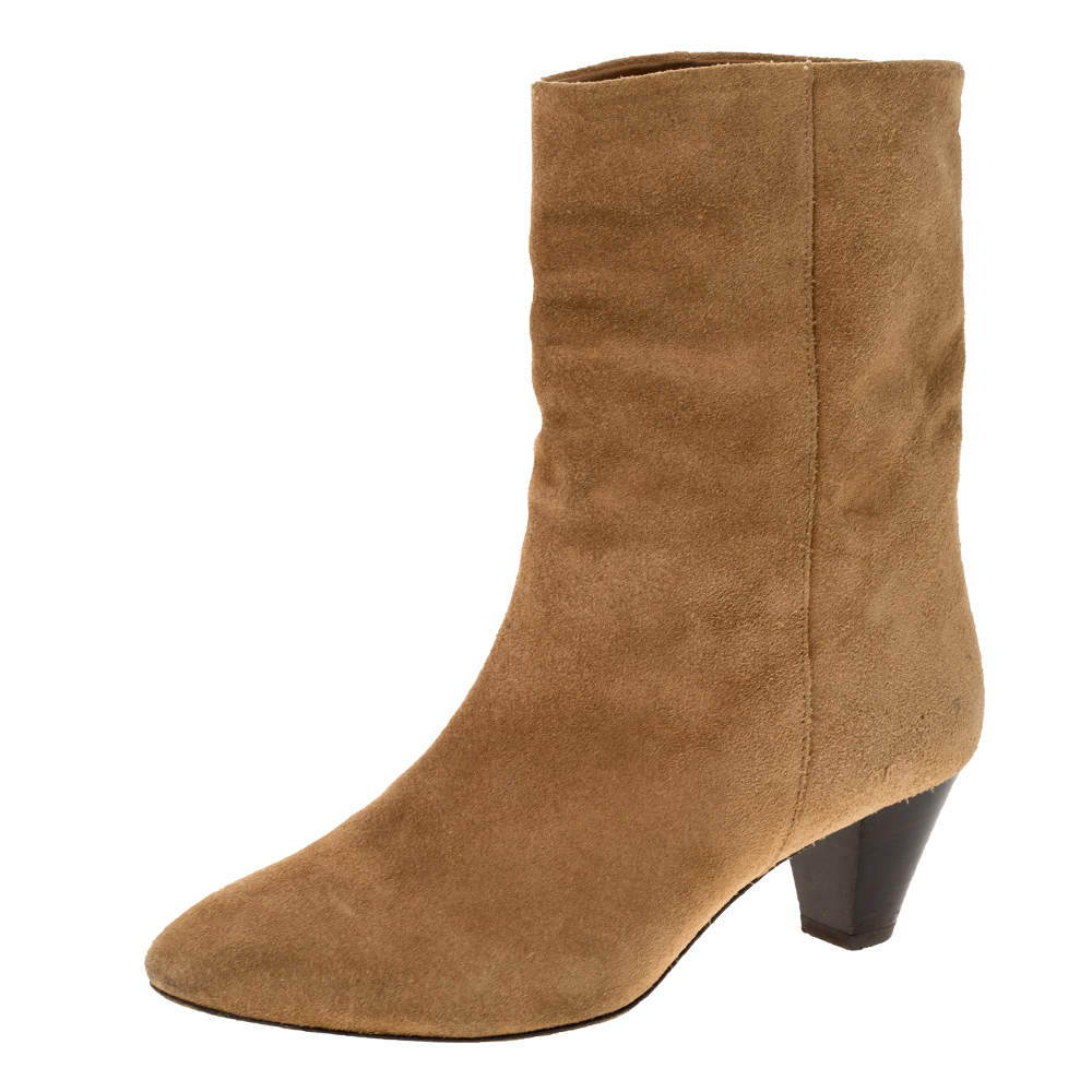 Isabel Marant Light Brown Suede Dyna Ankle Boots Size 37