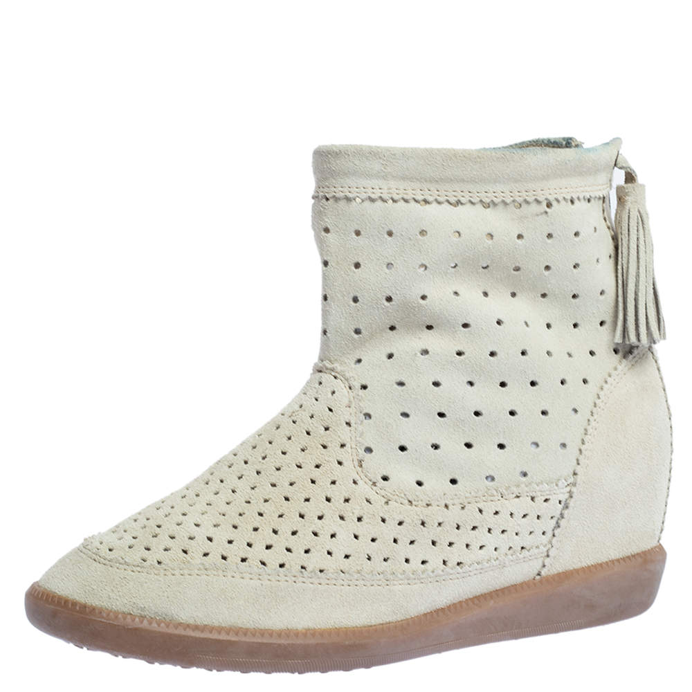 Isabel Marant Cream Perforated Suede Basley Ankle Boots Size 39
