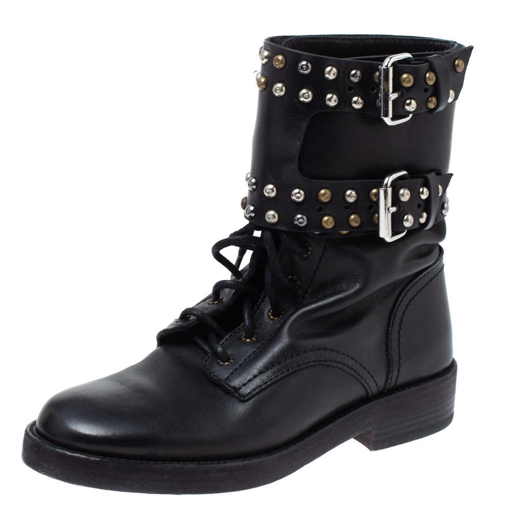 Isabel Marant Black Leather Teylon  Studded Ankle Boots Size 35