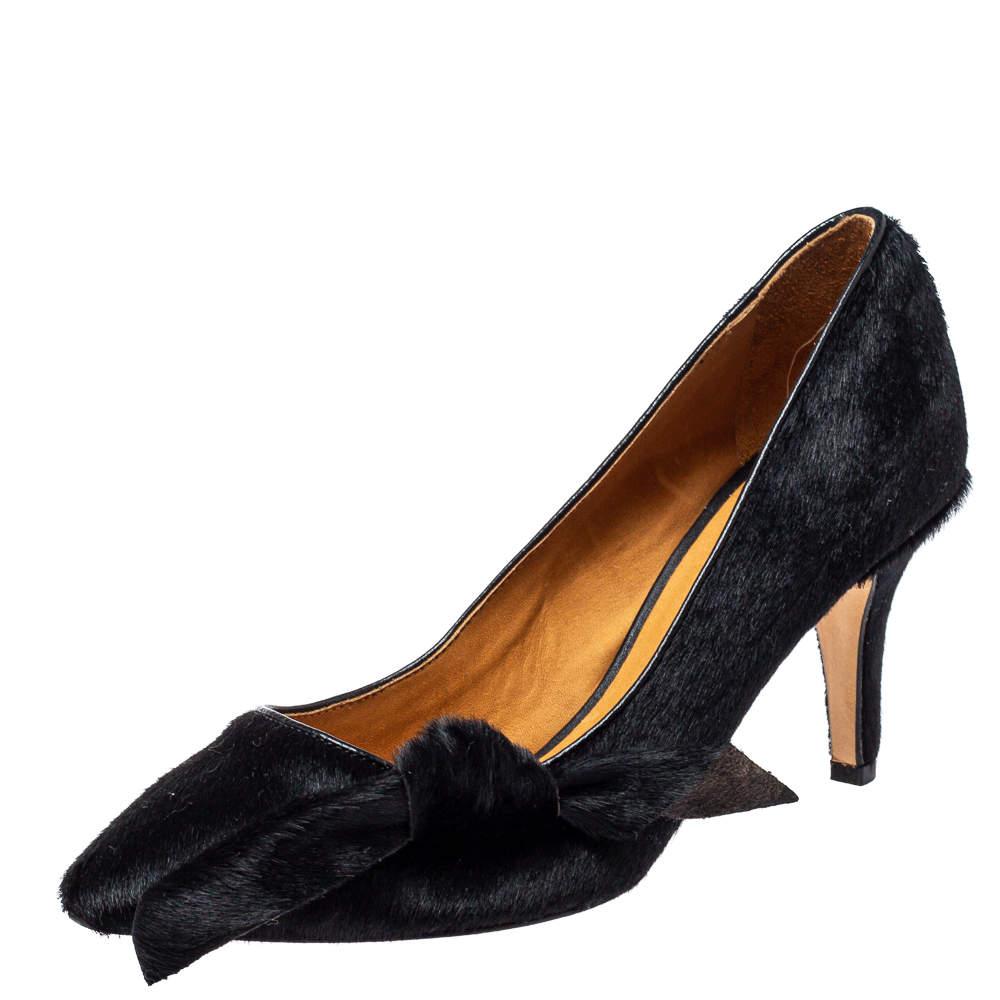 Isabel Marant Black Calf Hair Pealman Bow Pointed Pumps Size 37