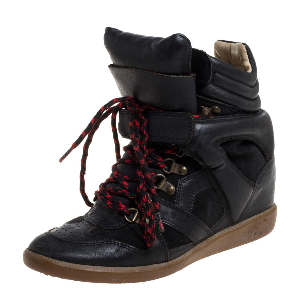 Isabel Marant Black Suede And Leather Tibetan High-Top Sneakers Size 39