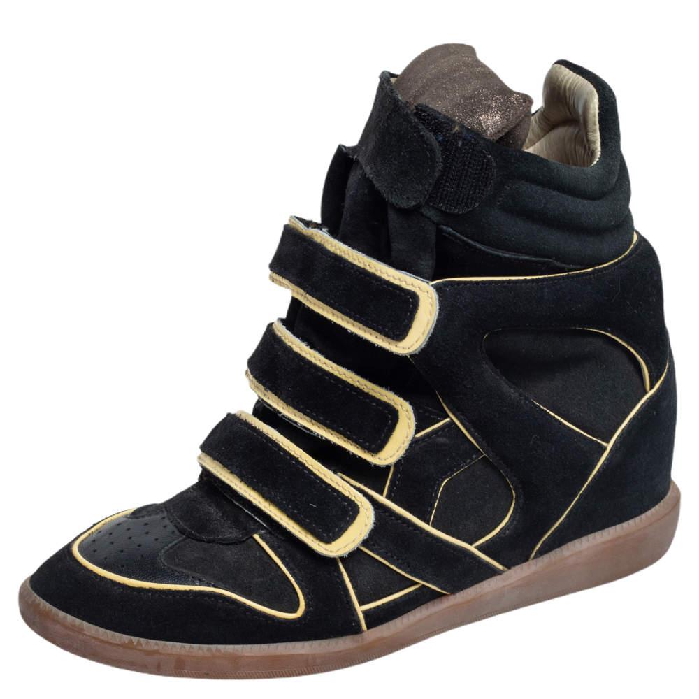 حذاء رياضي إيزابيل مارانت سويدي أسود وجلد بيكيت مقاس 39