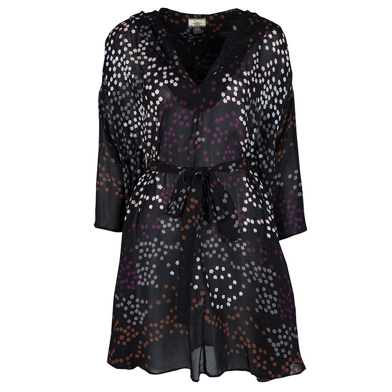 Issa Black Leaf Printed Silk Oversized Belted Hooded Tunic M