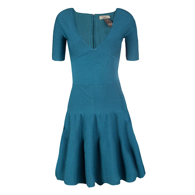 Issa Teal Blue Rib Knit V-Neck Flared Bottom Dress M
