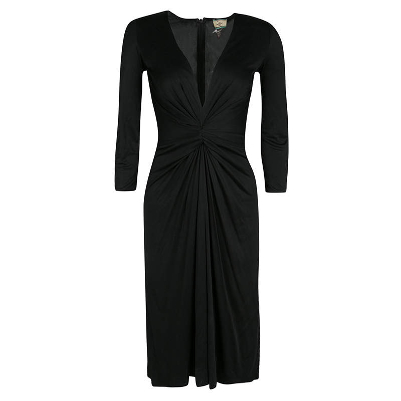 Issa Black Gathered Waist Long Sleeve Silk Jersey Dress S