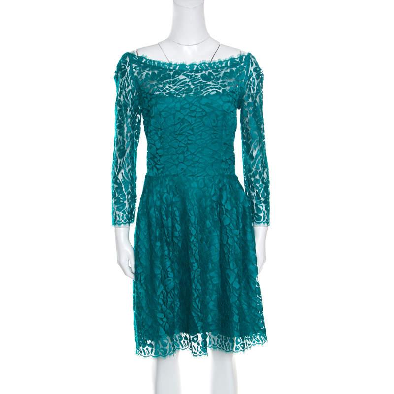 Issa Jade Green Floral Lace Long Sleeve Sheath Dress M