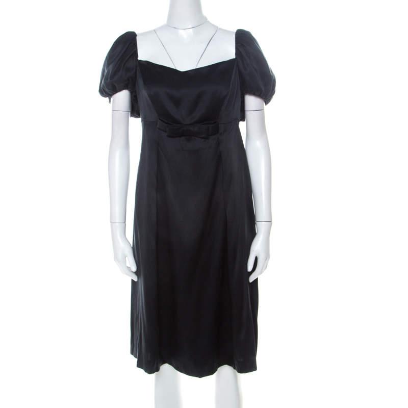 Issa Black Silk Puff Sleeve Front Bow Detail Short Dress L