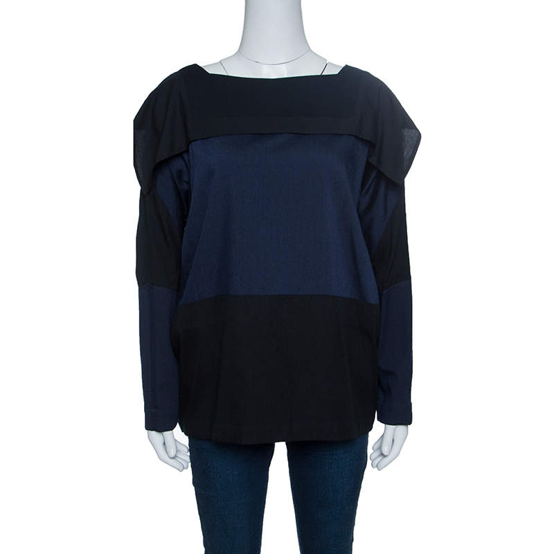 Issey Miyake Bicolor Square Neck Long Sleeve Oversized Fold Wool Top S