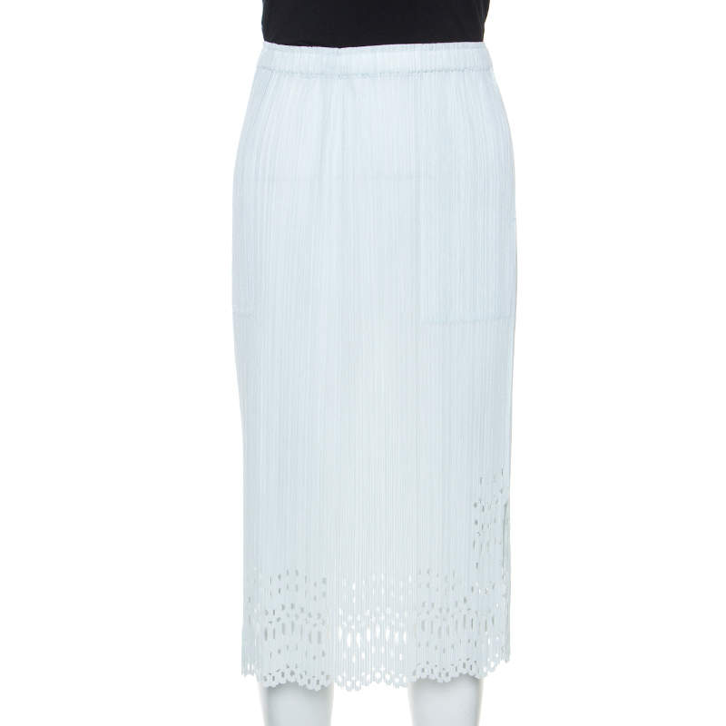 Pleats Please by Issey Miyake Pale Blue Laser Cut Crepe Midi Skirt S