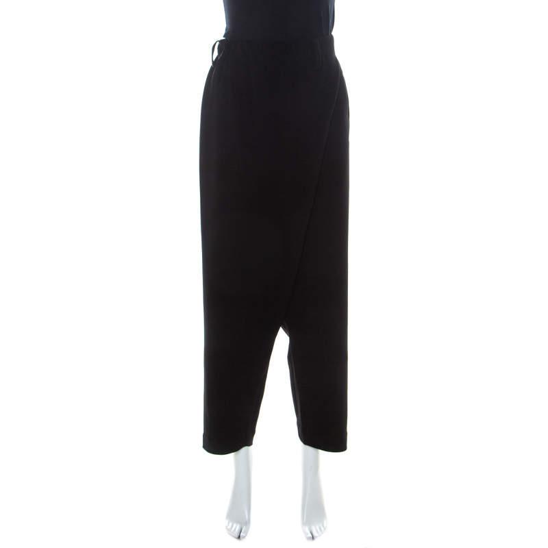 Issey Miyake Black Crepe Elasticized Waist Overlap Detail Pants XS