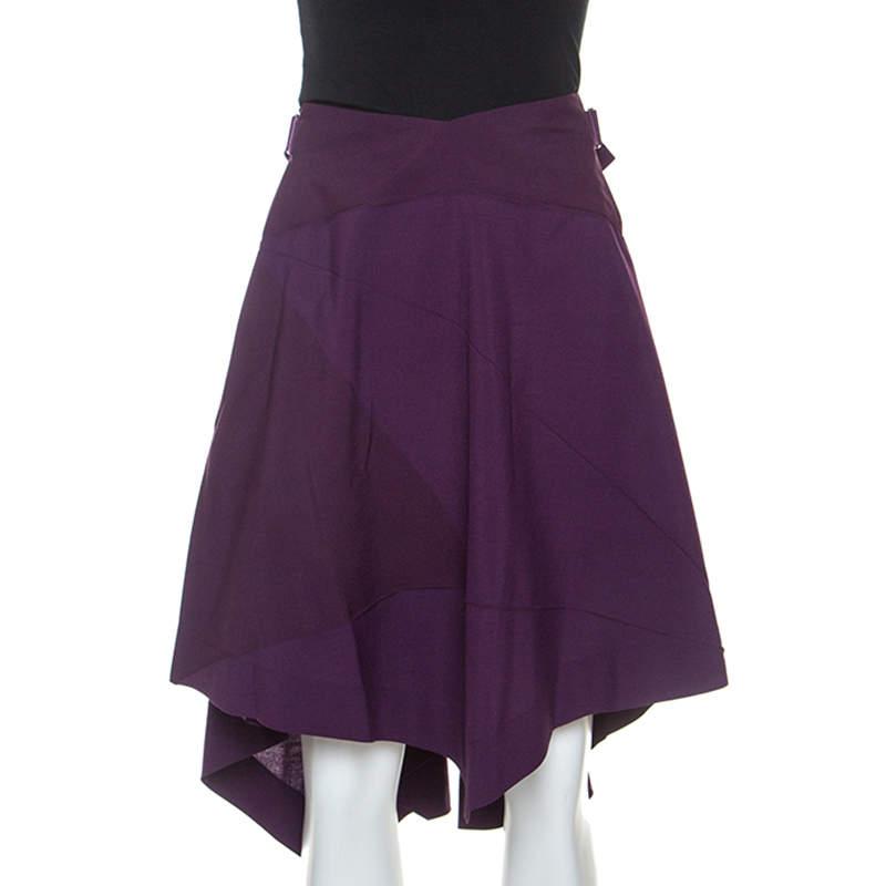 Issey Miyake Purple Wool Blend Geometric Patterned Asymmetric Skirt XS