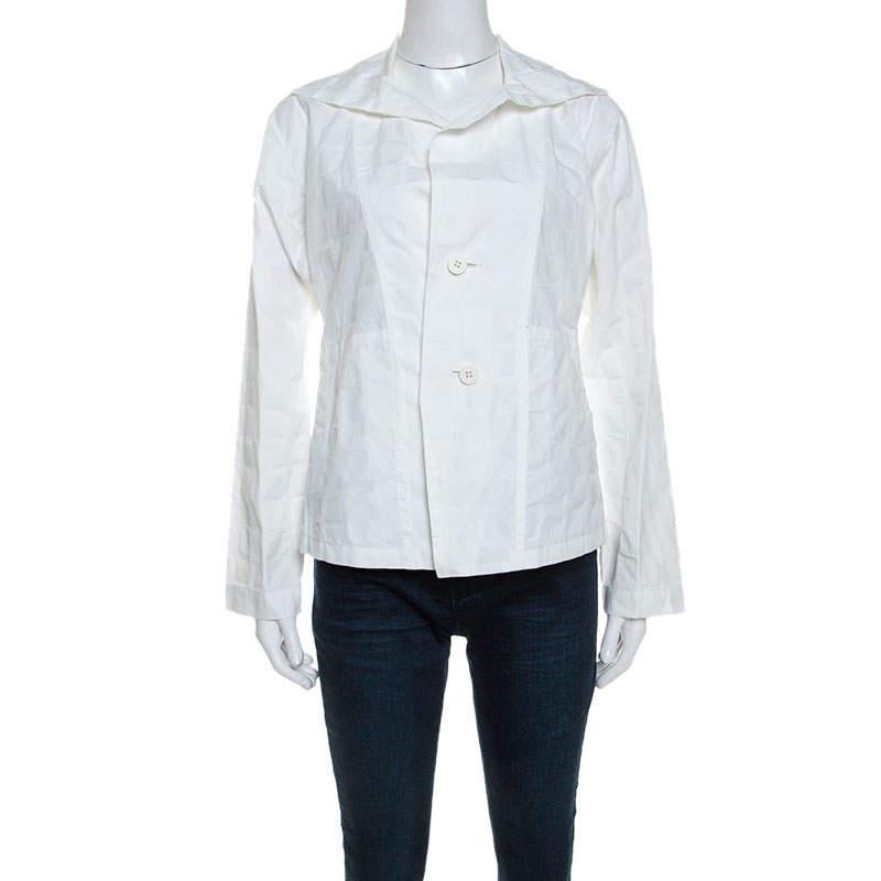 Issey Miyake White Textured Cotton Long Sleeve Jacket M