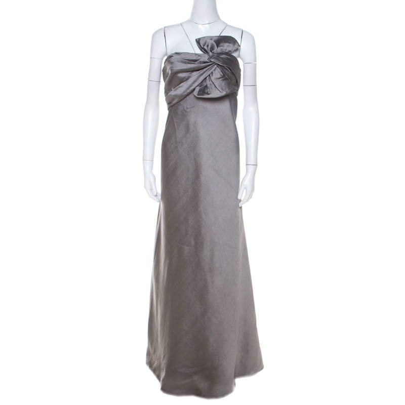 J Mendel Grey Silk Blend Strapless Front Bow Detail Gown L
