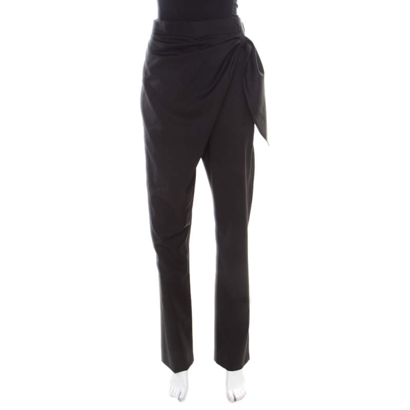 J.W.Anderson Black Wool Draped Crossover Front Detail Pants M