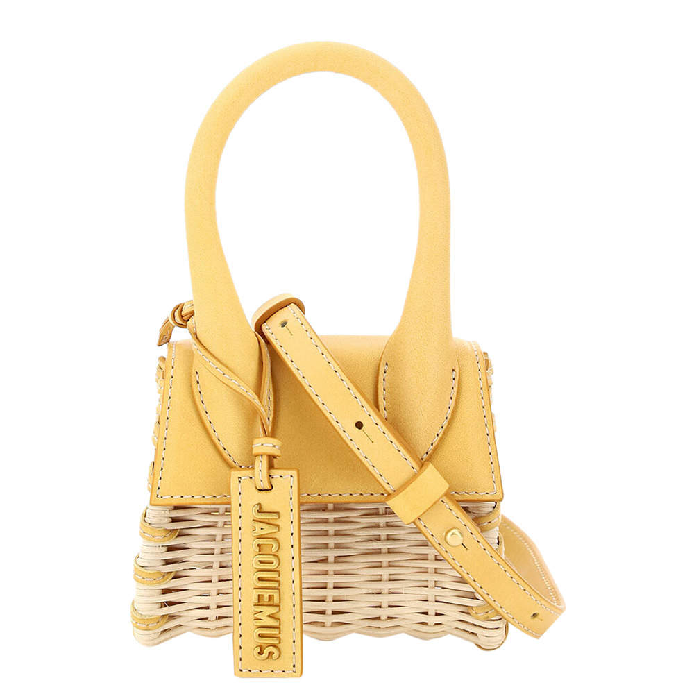 Jacquemus Yellow Wicker/Leather Le Chiquito Micro Bag