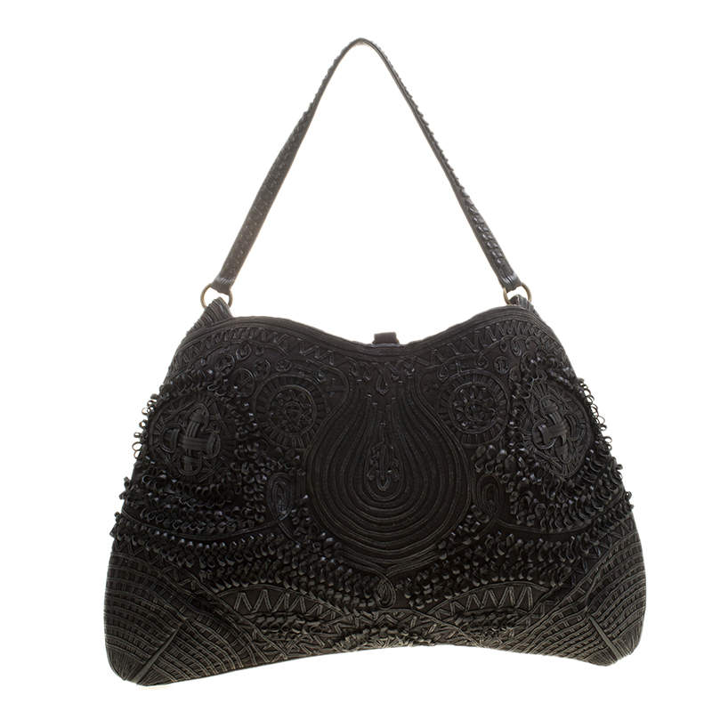 Jamin Puech Black Leather and Canvas Shoulder Bag