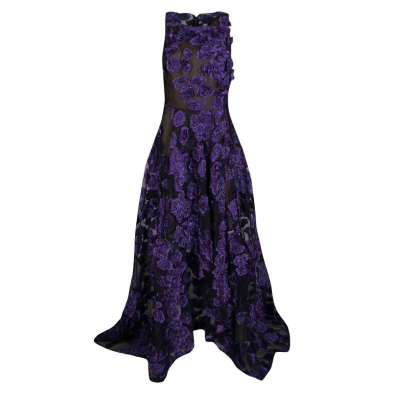 Jason Wu Purple Floral Applique and Jacquard High Low Gown M