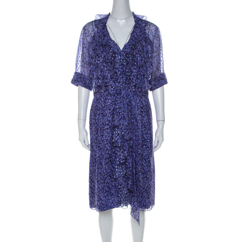 فستان جيسون وو حرير شيفون بنفسجي مطبوع بكشكشة قصير L