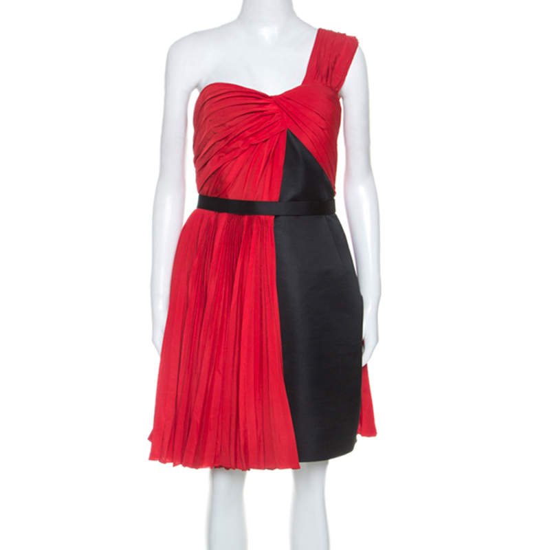 Jason Wu Red Crepe Pleated One Shoulder Dress L