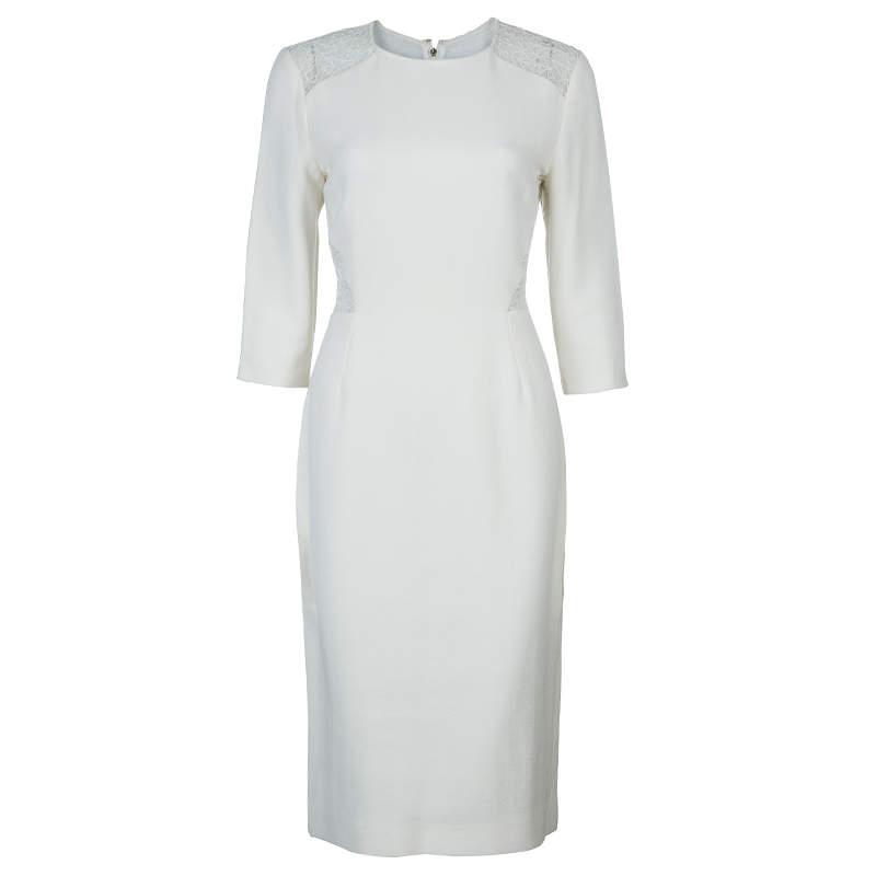 فستان جيسون وو مزين بالدانتيل كريمي M