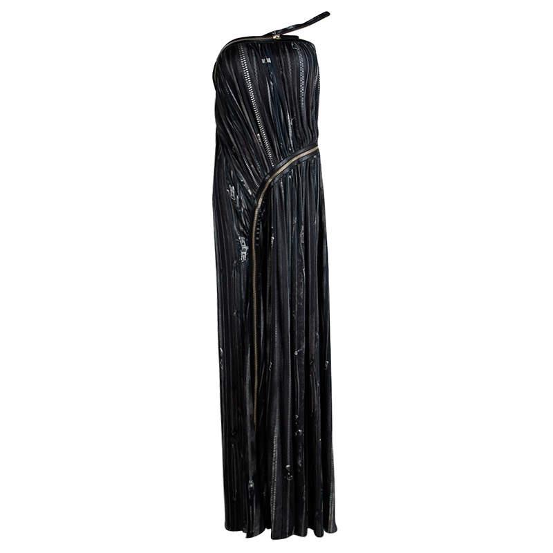 Jean Paul Gaultier Femme Multicolor Gathered Zip Detail Maxi Dress S