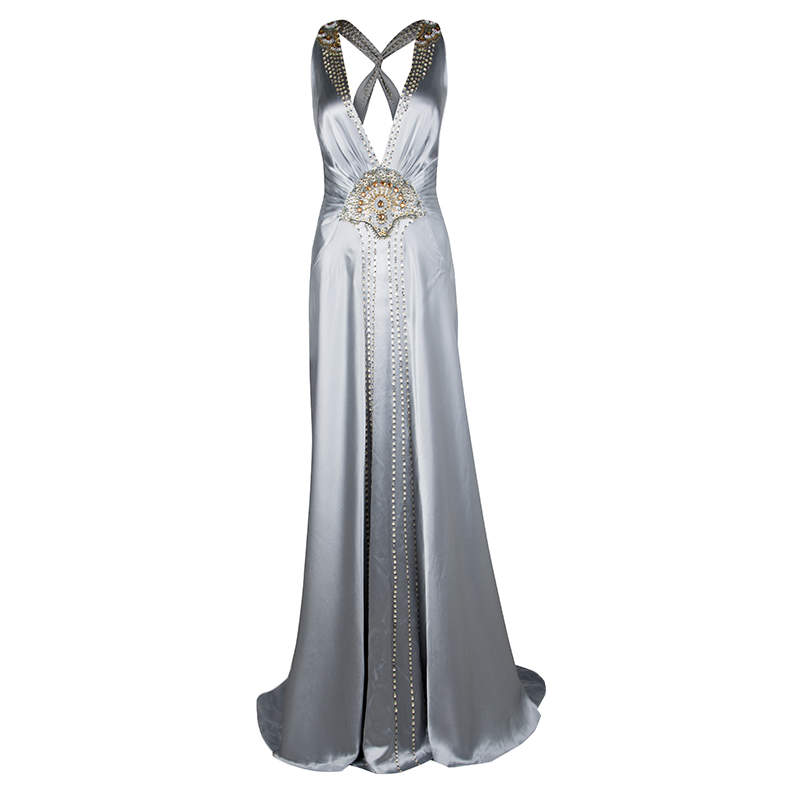 Jenny Packham Grey Satin Embellished Halter Evening Gown M