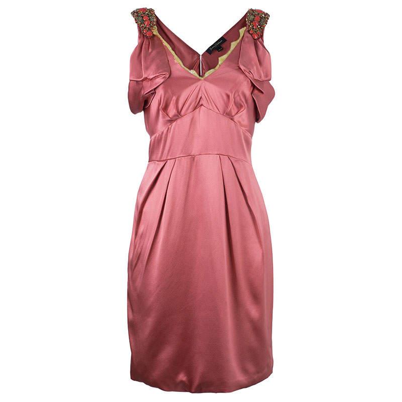 Jenny Packham Coral Embellished Silk Dress M