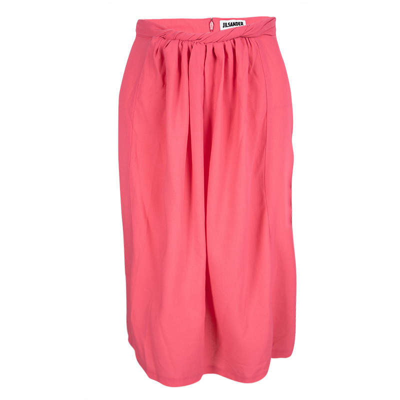Jil Sander Pink Wool Twist Front Detail Skirt M
