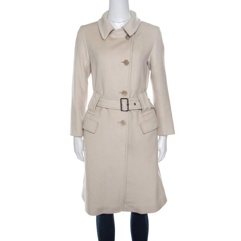 Jil Sander Beige Wool and Angora Belted Coat S