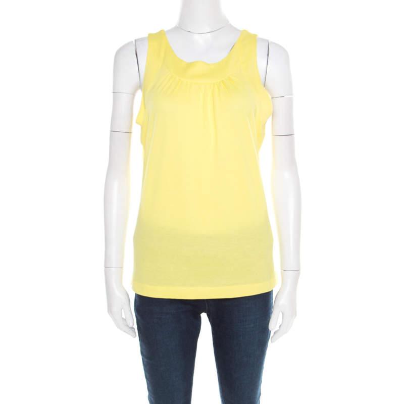 Jil Sander Yellow Cotton Jersey Sleeveless Top XL