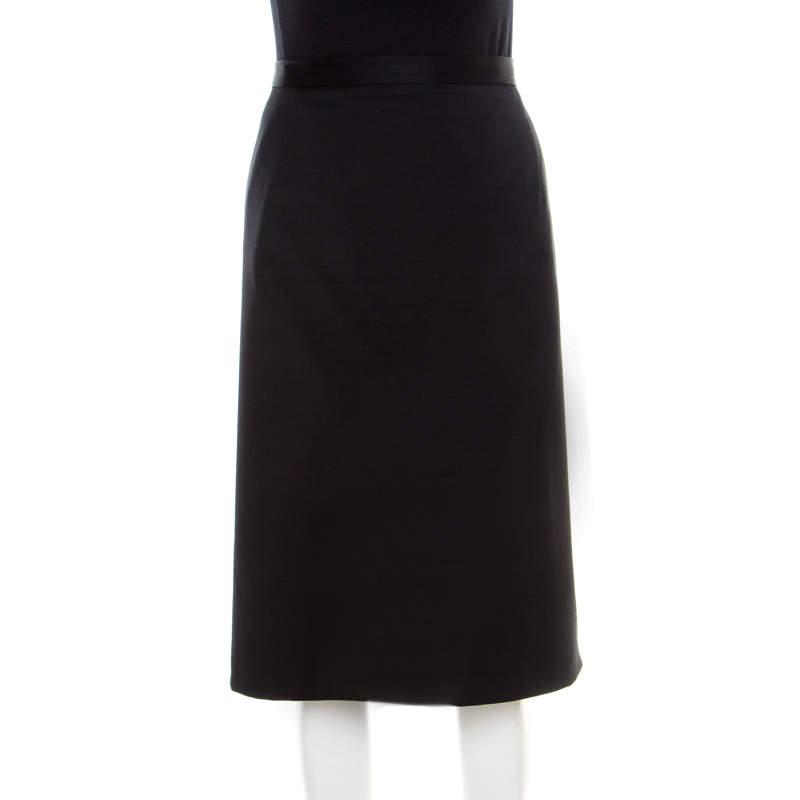 Jil Sander Black Stretch Wool Pencil Skirt XL