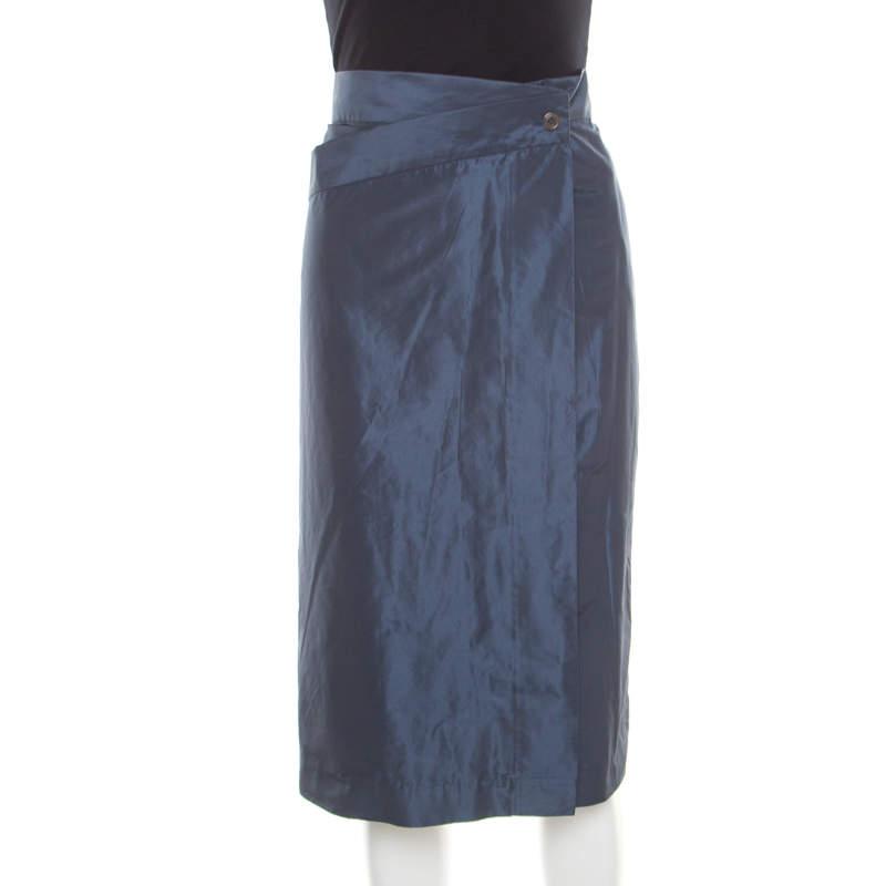 Jil Sander Grey Asymmetric Waist Detail Wrap Skirt L