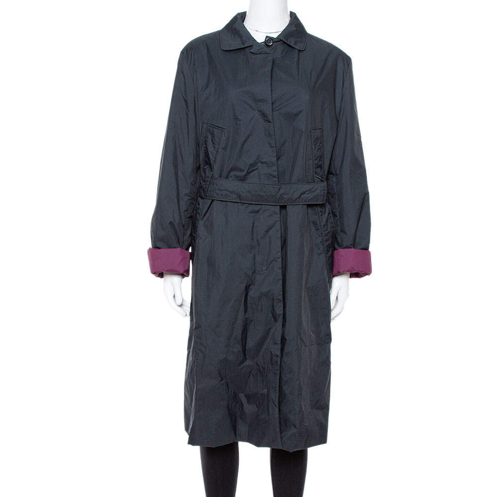 Jil Sander Black Nylon Belted Overcoat L